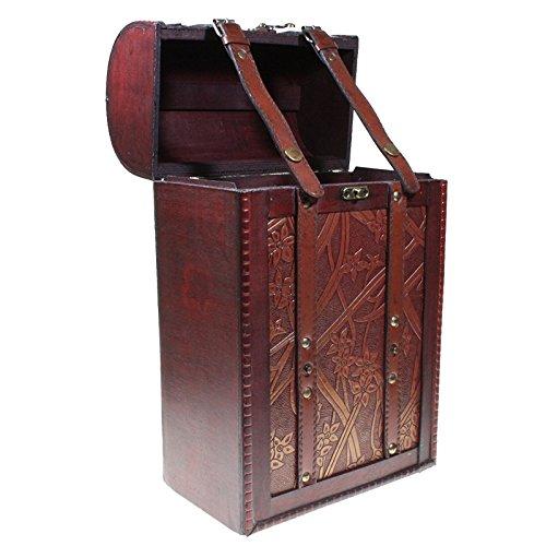 CHRISTIAN GAR Caja de Madera Decorada para 2 Botellas de Vino - Caja para Regalo/Decoración (35,5 x 21,5 x 12,5 cm) MH-12