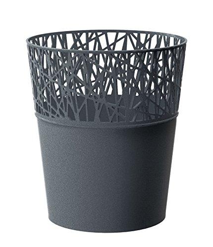 Rond cache-pot 18 cm CITY en plastique romantique style en graphite