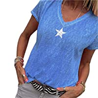 GRMO Women's V-Neck Embroidery Summer Stars Short Sleeve T-Shirt Blouse Top 1 3XS
