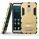 Heartly Back Cover Graphic Kickstand Hard Dual Rugged Armour Hybrid Bumper Case for Xiaomi Mi Redmi Note 3 - Mobile Gold