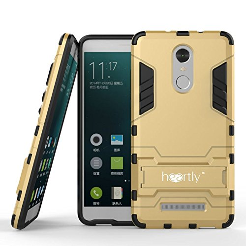 Heartly Graphic Designed Kick Stand Hard Dual Rugged Armor Hybrid Bumper Back Case Cover For Xiaomi Mi Redmi Note 3 - Mobile Gold