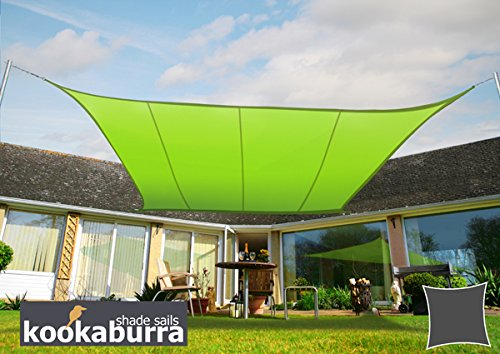Kookaburra Wasserfest Sonnensegel 5,4m Quadrat Hellgrün