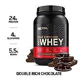 Optimum Nutrition ON Gold Standard Whey Protein Pulver, Eiweißpulver Muskelaufbau mit Glutamin und Aminosäuren, natürlich enthaltene BCAA, Double Rich Chocolate, 29 Portionen, 908g