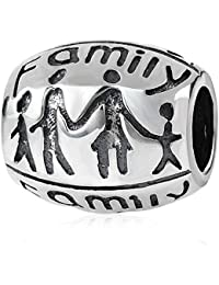 Cuenta Soulbead ovalada de plata de ley 925 para pulsera de estilo europeo con el tema «Family Forever Together»