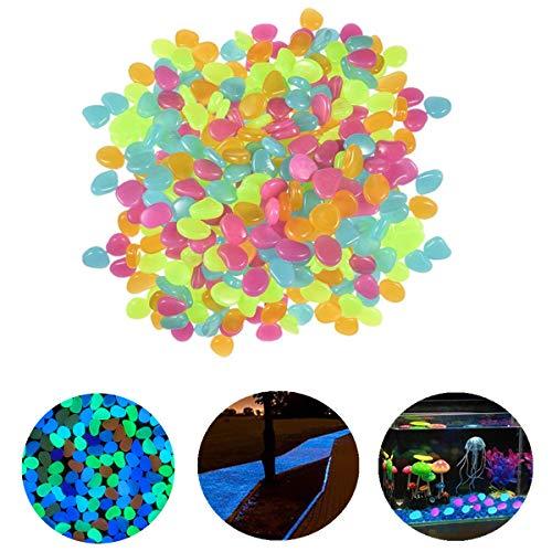 Techwills 400 Stück Leuchtende Steine Nachtleuchtende Steine Leuchtkiesel Dunkeln Fluoreszierende Dekoration Aquarium Garten Gehweg (Farbe In Dunklen Outdoor-glühen Der)