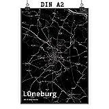 Mr. & Mrs. Panda Poster DIN A2 Stadt Lüneburg Stadt Black