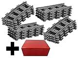 8x Gerade Schienen + 8x Gebogene Kurvenschienen Gleise - Lego Gerade Schienen und Gebogene Gleise, City ferngesteuerter Zug, für Lego City Eisenbahn
