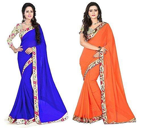 Aashi Saree Exclusive Combo Of Plain Chiffon Lacy Border Sarees (Blue And Orange)