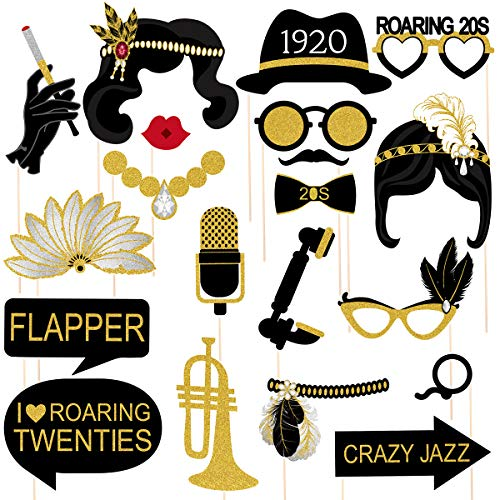 Amosfun 20pcs 1920er Jahre Photo Booth Requisiten Roaring 20's Party Photo Props mit Sticks Kreative Party Supplies, perfekte 1920er Jahre Themen Geburtstag Hochzeit Hollywood Partydekorationen