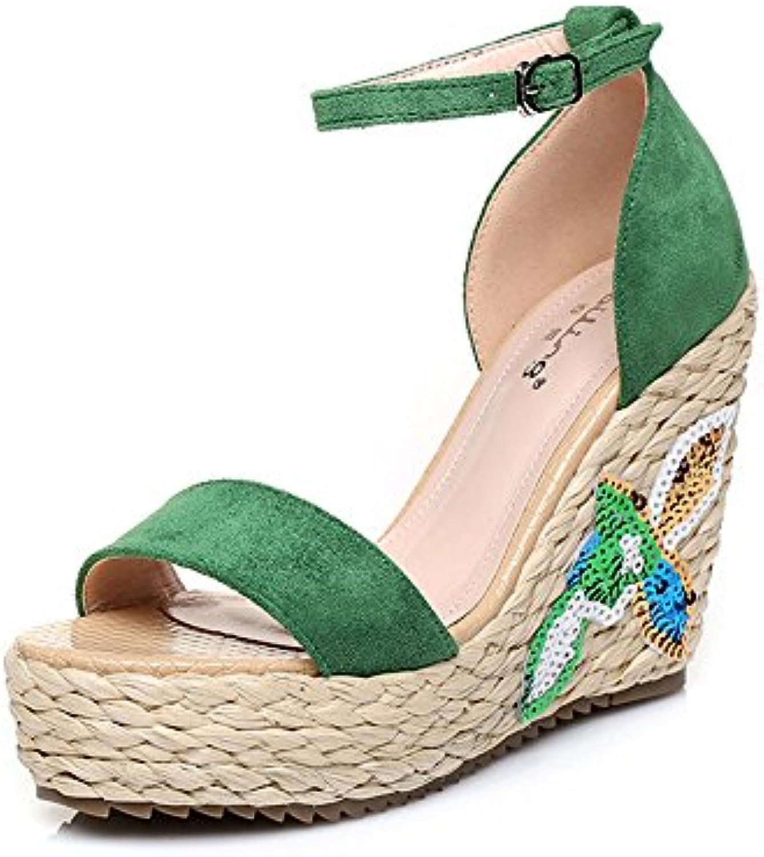 10.5cm Vert, Vert, 10.5cm chaussures d'été, sandales compensées à talon compensé avec chaussures en tricot brodé ( Couleur...B07CNCNB6QParent f7857c