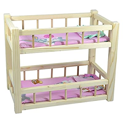 Children's Wooden Toy Pine Bunk Bed for Two Dolls With Mattresses and Pillows produced by Obique - quick delivery from UK.