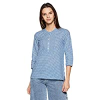 Styleville.in Women's Checkered Regular Fit Shirt (STSF401915_Blue_L)