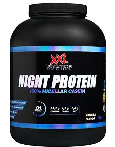 Night Protein - 78-89% Protein - Low Fat, Low Carb - Nur reines Casein! (Vanille, 2000)
