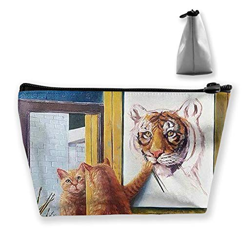Cat Or Tiger Women Cosmetic Bags Portable Pouch Trapezoidal Storage Bag Travel Bag with Zipper