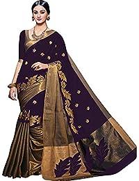 Purvi Fashion Women's Cotton Silk Printed Saree With Blouse Piece - AURA PURPLE_011
