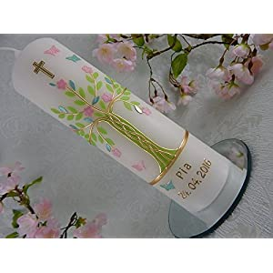 Taufkerze Lebensbaum grün rosa gold Schmetterlinge Taufkerzen für Mädchen 250/70 mm personalisiert