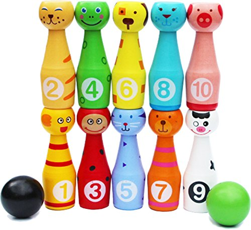 TOWO Wooden Skittles for Children - Wooden Skittle Set with Animal Faces and Numbers - 10 pin bowling set for kids - wooden toys for 2 year old