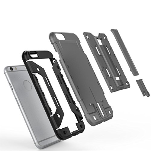 iPhone 6S Plus Hülle, iPhone 6 Plus Hülle, Lifeturt [ Gelb ] 2 Layer Hybrid Combo Innere Weiche Silikon Hart Plastik Anti-stoß Schutzhülle Tasche Case Cover für Apple iPhone 6S Plus/6 Plus E02-Silber