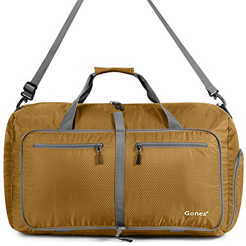 Gonex-Borsa da viaggio, pieghevole, impermeabile, 80 l, per campeggio, escursionismo, viaggio, verde, L oro