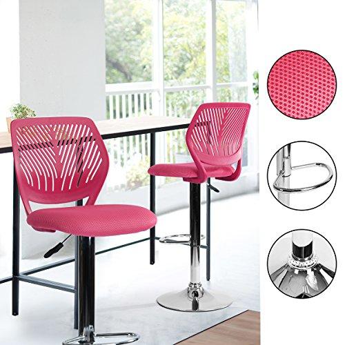 Innovareds-uk Kunststoff Rückenlehne Kissen Polsterung Sitz verstellbar bar-Stool mit Chrom Fußstütze Pink - Chrom Verstellbare Hocker