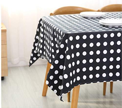 FREEZGTZ Tischdecke Schwarz Weiß Polka Dot Baumwolle Tischdecke Rechteckige Tischdecken Haushaltsdekoration 100 * 140 cm