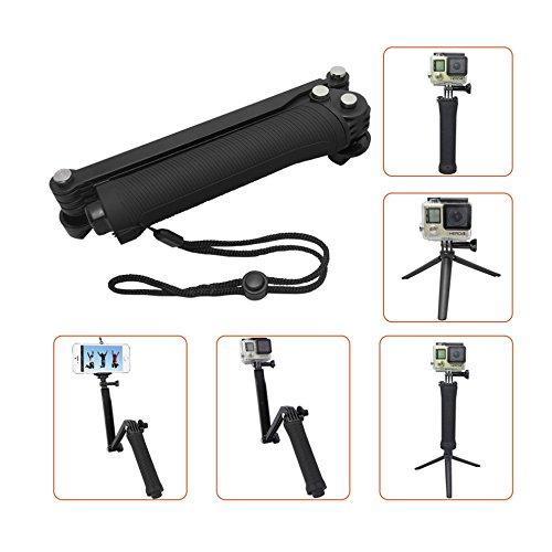 Taslar 3-Way Grip Arm Tripod Foldable Selfie Stick, Stabilizer Adjustable Monopod Mount Holder For Action Cameras And All Gopro Hero With Long Screw (Black)
