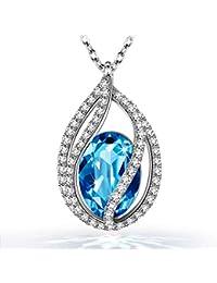 Kami Idea - Lágrimas De La Sirena - Collar, Cristal de Swarovski, Diseño Original, Símbolo de Seguridad y Felicidad, Embalaje de Regalo, 45 + 5 cm