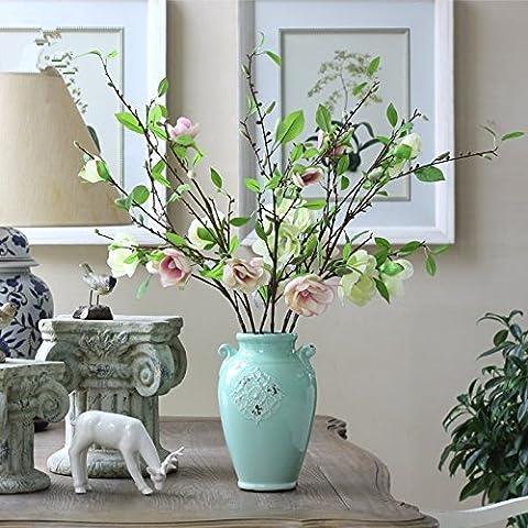 K&C Magnolia Fleurs artificielles en soie artificielle Plantes Décor Bouquet Décoration Lumière jaune