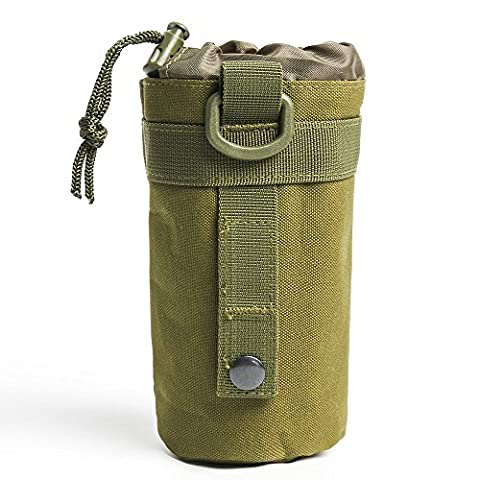 Airsson Tactical Molle Water Bottle Holder Kettle Carrier Pouch Bag Drawstring Open Top 600D for Outdoor Hiking Camping (Olive Drab)