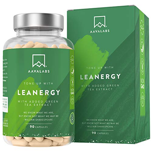 510G6uwerYL - Leanergy - Quemagrasas Natural en Cápsulas con Extracto de Té Verde, Guaraná, Garcinia Cambogia - Pérdida de Peso y Metabolismo Graso - 90% de Polifenoles - Compuestos Naturales - 100% Vegano