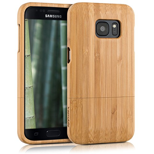 Kwmobile samsung galaxy s7 cover bambù - custodia in bamboo naturale - case rigida backcover per samsung galaxy s7