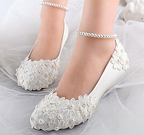 Jingxinstore Dentelle Blanche Perle Cheville Fleurs Mariage Wedge Chaussures Talons De Mariée 7.5 Cm / 3 Pouces