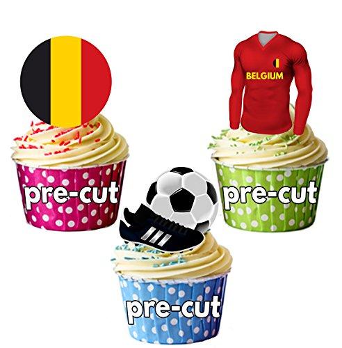 Cupcake-/Kuchendekoration, vorgeschnitten, essbar, Belgien Fußballtrikot, Flagge und Ball mit...