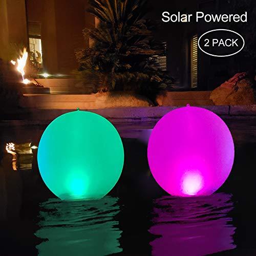 Paquete de 2 luces solares para piscina, inflables, resistentes al agua, con luz LED que cambia de color al aire libre, decoración de fiesta para piscina, boda, playa, patio, césped, camino