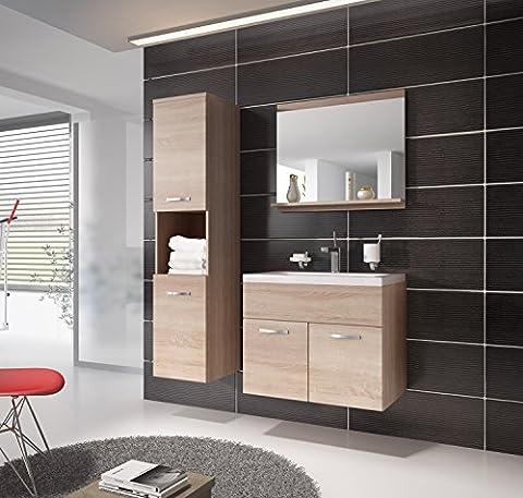 Bathroom cabinet Montreal 60cm basin - Storage cabinet vanity unit sink furniture (Sonoma oak)