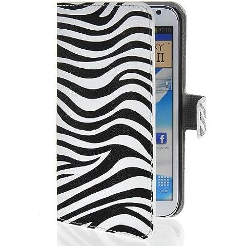 MOONCASE Zebra Custodia in pelle Protettiva Flip Case Cover per Samsung Galaxy Note 2 N7100