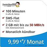 DeutschlandSIM LTE Mini SMS 2 GB [SIM, Micro-SIM und Nano-SIM] monatlich kündbar (2 GB LTE-Internet mit max. 50 MBit/s + Datenautomatik, 100 Minuten, SMS-Flat, 9,99 Euro/Monat) O2-Netz preiswert