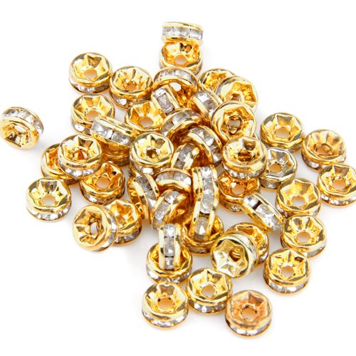 Lotto Stock 50 perline perle oro dorate 6mm con strass