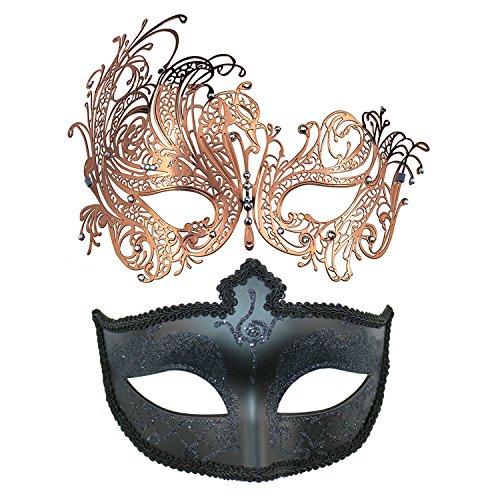 Thmyo Venezianische Maskerade-Maske des Paares, Halloween-Karnevals-Karneval-Ball-Maske 2 Satz (Rose Gold + Schwarz 2) (Paare Für Erstaunlich Halloween-kostüme)