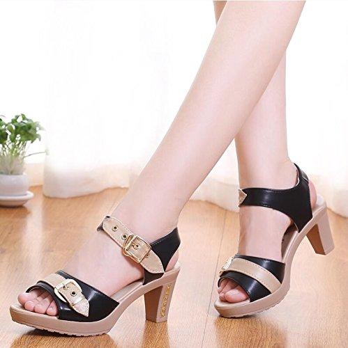 LGK&FA Estate Donna Sandali un nuovo paio di sandali tacchi tacchi tacchi e talloni 33 Nero 39 black