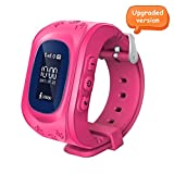 Witmoving Childrens Smartwatch GPS Tracker Kids Wrist Watch Phone Sim Anti-lost SOS Bracelet Parent Control By iPhone IOS Android Smartphone (Pink)