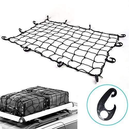 Latex Natürliches Bett (RAIN QUEEN 91,4 x 121,9 cm bis 15,2 x 20,3 cm Latex-Lastennetz mit 22 Nylon-Haken, 8,1 x 8,2 cm enges Netz, 4 mm Kordel, für Pickup LKW Bett und SUV Dachgepäckträger)