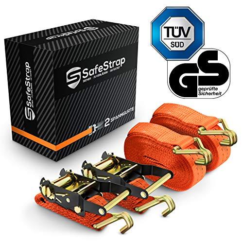 SafeStrap Spanngurte mit Haken - mit TÜV G/S - Extrem robuste Zurrgurte nach EN 12195-2 - 6m lange Ratschengurte mit 2000kg Kapazität [2er Set]