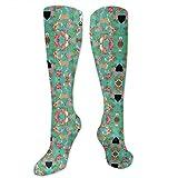 Gped Kniestrümpfe,Socken Chihuahua Hawaii Florals Compression Socks,Knee High Socks,Funny Socks for Women Men - Best Medical,Sports,Running, Nurses,Maternity,Pregnancy,Travel & Flight Socks