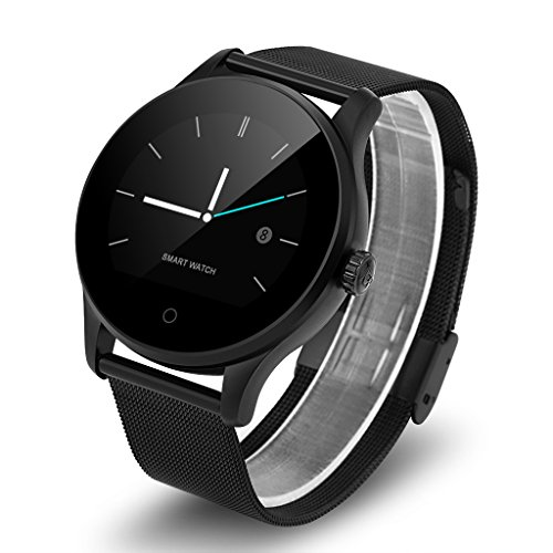 Excelvan K88H - Smartwatch Reloj Pulsera Deportiva (Ritmo Cardiaco, Podómetro, Recordatorio Llamada SMS, Recordatorio Sedentaria, Monitor del Sueño), Negro