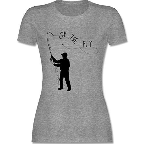 Angeln - Fishing - On the Fly - tailliertes Premium T-Shirt mit Rundhalsausschnitt für Damen Grau Meliert