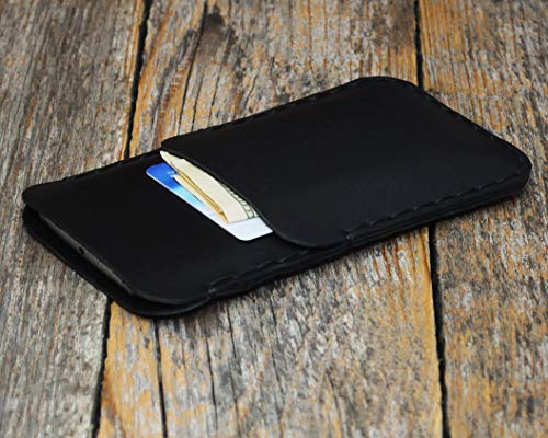Leder Hülle für iPhone XS Max Schwarzes Tasche Etui Cover Case Handyschale Gehäuse Ledertasche Lederetui Lederhülle Handytasche Handysocke Handyhülle Schale Socke auch für 8 Plus, 7 Plus, 6/6s Plus Deckel-case