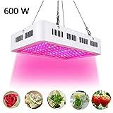 Cocoarm 600W LED Pflanzenlampe Doppel 60W Chips LED Grow Light Vollem Spektrum LED Wachstumslicht 60 LEDs Pflanzenlicht Grow Lamp mit UV & IR und mit Rope Hanger für Zimmerpflanzen,Gemüse und Blumen