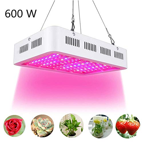Cocoarm 600W LED Pflanzenlampe Doppel 60W Chips LED Grow Light Vollem Spektrum LED Wachstumslicht 60 LEDs Pflanzenlicht Grow Lamp mit UV & IR und mit Rope Hanger für Zimmerpflanzen,Gemüse und Blumen -