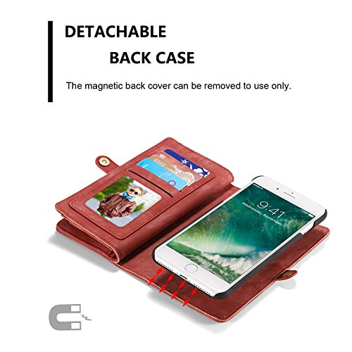 SDDMALL CaseMe Ultimate Functional All-In-One Handgefertigte TRIFOLD LEATHER Abnehmbare IPhone Brieftasche Elegant Finish Case Cover Für IPhone 7 Plus ( Color : Coffe ) Red